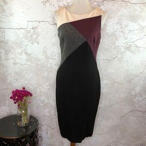 WHBM Sleeveless Black Gray Knit Sheath Dress 6